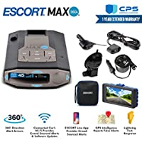 Escort 0100037-1 Max 360C Radar Laser Detector with Wi-Fi + Smart Direct Wire Cord + CPS Extended Warranty + Minolta Full HD DashCam with Night Vision and Motion Detection + USB/DC Power Adapter
