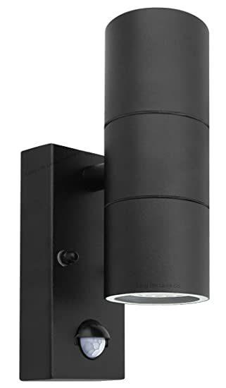 Black pir stainless steel double outdoor wall light with movement black pir stainless steel double outdoor wall light with movement sensor ip44 updown outdoor aloadofball Images