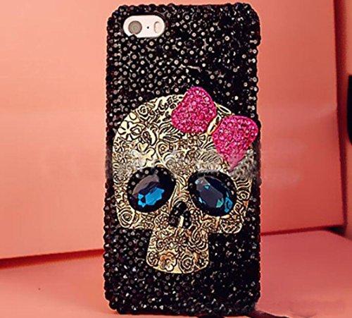 Iphone 6 plus/6s plus Skull Case,Jesiya Luxury 3D Shiny Crystal Sparkle Rhinestone Metal CrossBones/Skull Head Back Ultra Thin Hard PC Bling Diamond Glitter Case For Iphone 6 plus/6s plus 5.5