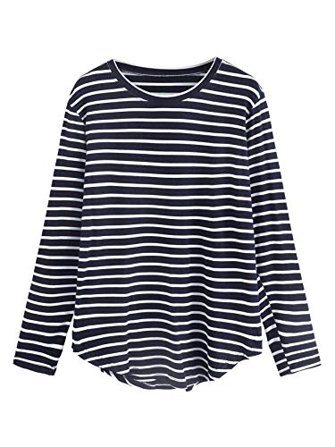 (Milumia Women's Elbow Patch Striped High Low Top T-Shirt Small Blue and White)