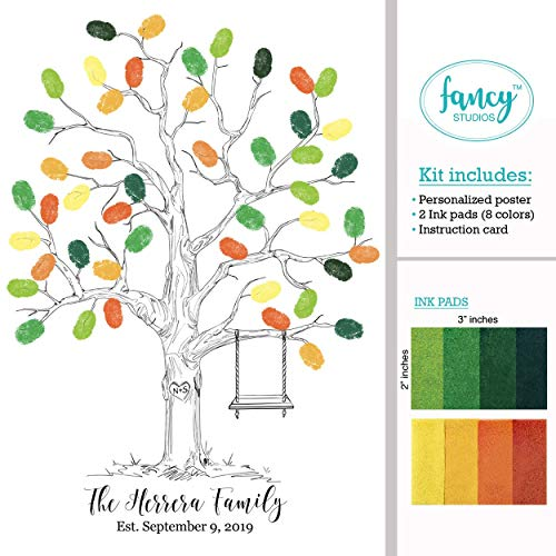 Fall fingerprint guestbook tree thumbprint guest book alternative poster anniversary birthday retirement family reunion keepsake personalized poster art print with green orange yellow 2 ink pad stamps