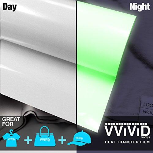VViViD White High-Energy Green Glow in the Dark Heavy-Duty Iron-on Heat Transfer Vinyl Film 12