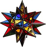 15 Inch Hanging Multi-Colored Glass Star Pendant Lamp