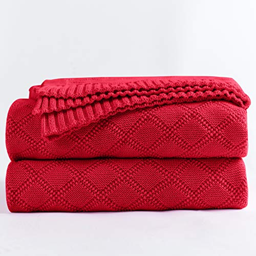 (Longhui bedding Cotton Red Cable Knit Throw Blanket for Couch Chairs Bed Beach, Home Decorative Knitted Blanket, 50 x 60 Inch with a Washing Bag,Silk Bow Tie Package)