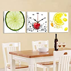Living room dining room 3 frameless paintings wall clocks modern decoration painting bedroom quiet mural ( Color : Lemo , Size : 5050cm )
