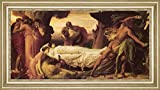 "Hercules Wrestling with Death for the Body of Alcestis by Lord Frederick Leighton - 16"" x 32"" Framed Premium Canvas Print"
