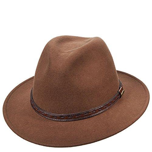 Scala Classico Men's Crushable Felt Safari Hat L, Pecan - Scala Wool Safari Hat