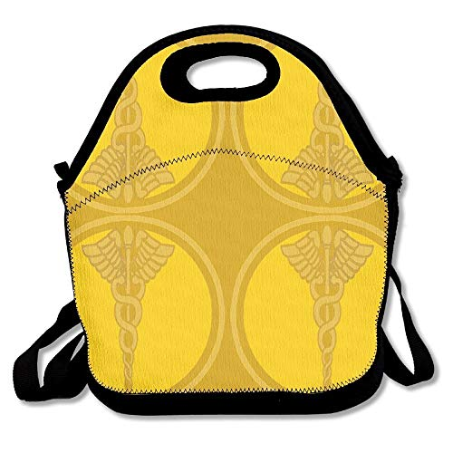 Doctors Design With Golden Caduceus Fabric (5055) Insulated Lunch Box Tote Bag With Shoulder Strap By Bouble, Perfect For Women, Men & Kids