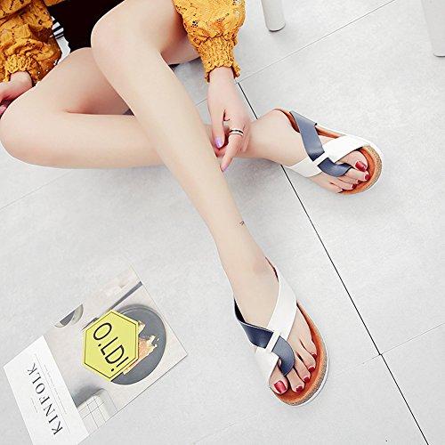 Mujer Verano Plana Chancletas Unisexo Zapatillas Sandalias clip dedo del pie sandalias zapatos de playa Blanco Azul