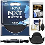 Hoya 52mm NXT Plus Circular Polarizer Slim Frame Glass Filter with Lens Hood + Cleaning Kit