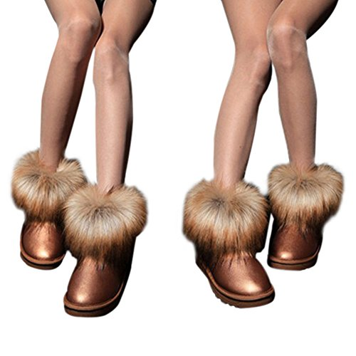 Haodasi Ladies Women Winter Snow Faux Fur Fluffy Ankle Boots Warm Comfy Casual Flat Shoe Brown eS85mt