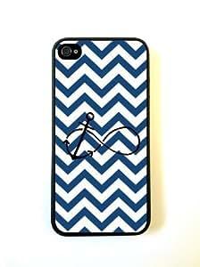 Anchored Forever Dark Blue Chevron Black- iPhone 5 Case - For iPhone 5/5G - Designer PC Case by heywan