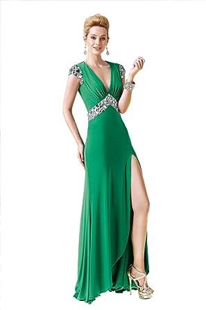 Alyce Paris 2338 V-Neck Cap Sleeve Jeweled Long Jersey Prom Dress