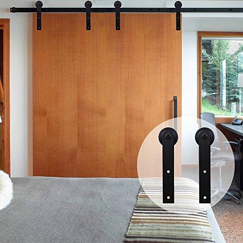 CCJH American Country Line-Flat Style Steel Sliding Barn Door Hardware Interior for Double Door Black (17FT)