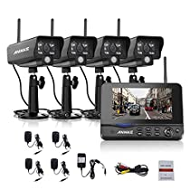 ANNKE Wireless Security Camera System with 7inch Monitor and (4) Indoor/Outdoor Weatherproof Bullet Cameras with 3.6mm Wide Angle, IR Night Vision, Real Plug and Play