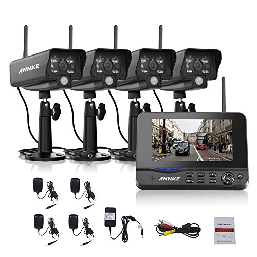 ANNKE Wireless Security Camera System with 7inch Monitor and (4) Indoor/Outdoor Weatherproof Bullet Cameras with 3.6mm Wide Angle, IR Night Vision, Real Plug and Play For Sale