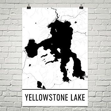 Amazon.com: Modern Map Art Yellowstone Lake Wyoming, Yellowstone Art ...