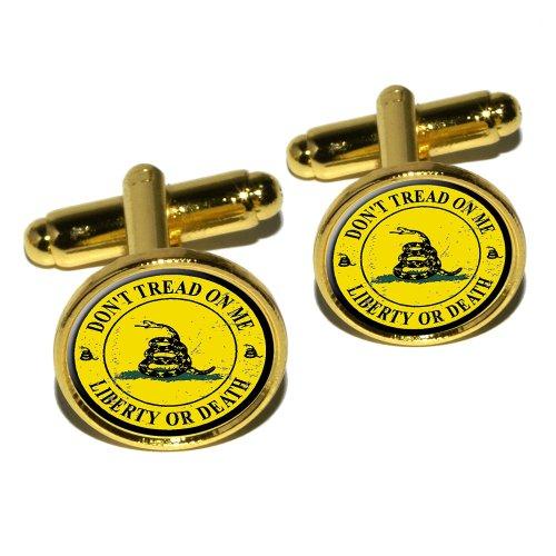 Gadsden - Don't Tread on Me - Liberty or Death - Distressed Circle Round Cufflink Set - Gold (Gold Cufflinks Circle)