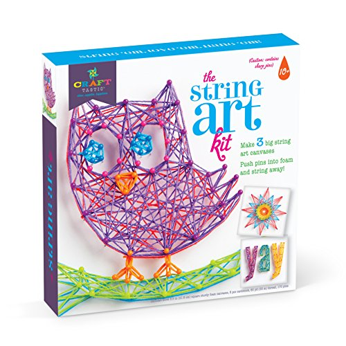 Craft-tastic - String Art Kit - Craft Kit Makes 3 Large String Art Canvases - Owl Edition