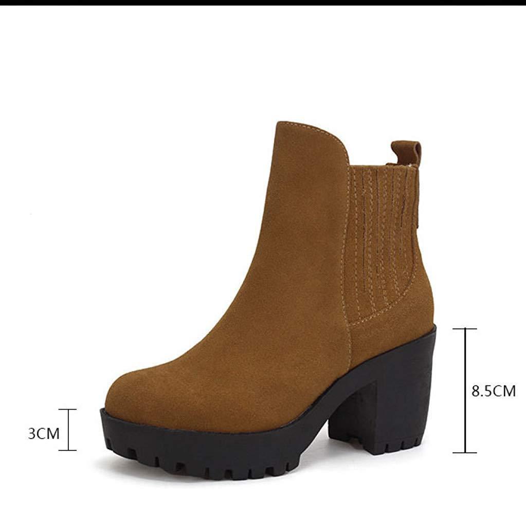 Oudan Weibliche Herbst Herbst Herbst Und Winter Mattleder High Heels Stiefeletten Baumwolle Schuhe (Farbe   G, Größe   36)  f465c8