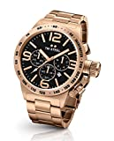 Tw Steel Cb173 Mens Stainless Steel Case and Canteen Bracelet Rose Gold Band Black Dial Watch
