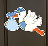 It's a Boy Stork Baby Door Hanger Sign (Welcome Baby Banner for front door or hospital) Die Cut