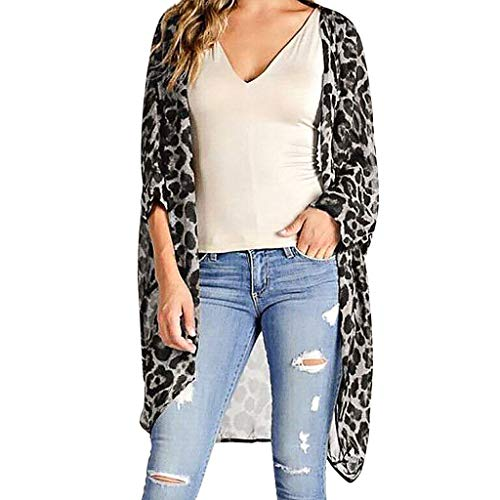 (FINME Womens Middle Sleeve Chiffon Leopard Print Cardigan Smock Easy Blouse Tops (Gray, L))