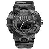 SMAEL Camouflage Military Watch Sport Watches LED Digital Clock Dual Time Wristwatch Mens Army Watch (Gray)