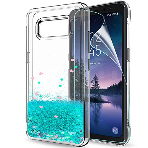 Galaxy S8 Active Case (Do Not Fit S8) with HD Screen Protector for Girls Women,LeYi Glitter Shiny Bling Quicksand Liquid Clear TPU Protective Phone Case for Samsung Galaxy S8 Active ZX
