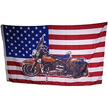 Usa Motorcycle Chopper 3x5 Polyester Flag Hog Bike United States