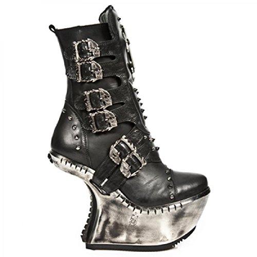 New Rock Laarzen M.ext005-s1 Hardrock Punk Gothic Damen Stiefel Schwarz