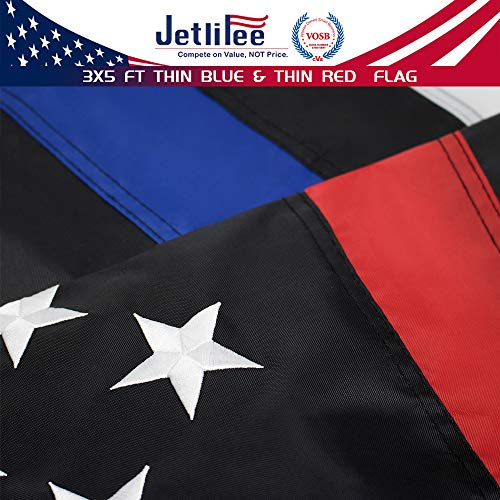 - Jetlifee Thin Blue Line Police & Thin Red Line Firefighter Flag 3x5 Ft with Embroidered Stars Sewn Stripes and Long Lasting Nylon, American Flag Black and White