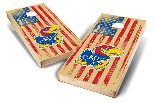 - PROLINE NCAA College Kansas Jayhawks 2' x 4' Cornhole Board Set - Vintage Flag 2 Design