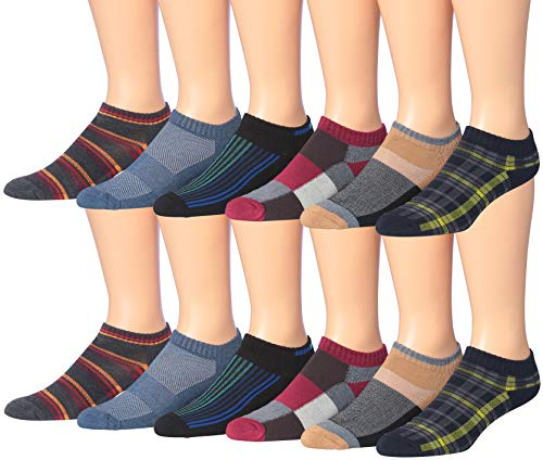 James Fiallo Men's 12-Pairs Low Cut Athletic Socks, (Sock size 10-13) Fits shoe size 6-12, 2904-12