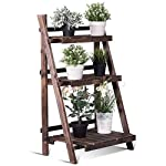 "Giantex 3 Tier Folding Wooden Plant Stand with Pot Shelf Stand Display Rack for Indoor Outdoor Garden Greenhouse, 24"" x 15"" x 37"""