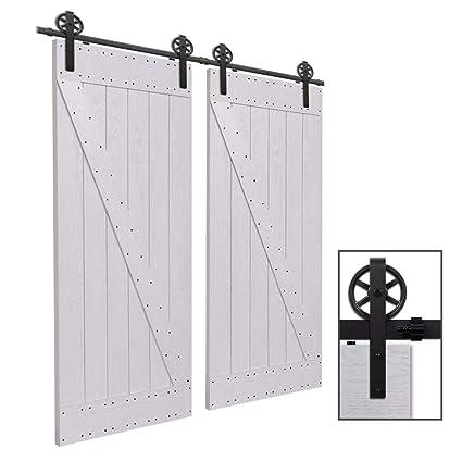 CCJH 9FT-275cm Herraje para Puerta Corredera Kit de Accesorios para Puertas Correderas Rueda Riel