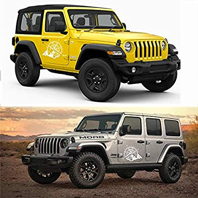 Fochutech Car Decals, Compass with Mountain Jeep Stickers, Waterproof Vinyl Hood Decal/ Car Window Stickers/ Auto Graphics Body Side, 1 PCS Car Stickers for Jeep Wrangler SUV Ford Decoration (White): Automotive