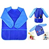 Itian Children Babies Kids Long Sleeve Waterproof Eating Art Craft Painting Play Apron Smock (Blue)