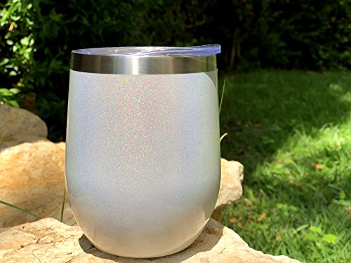 CHILLOUT LIFE Stainless Steel Stemless Wine Glass Tumbler 2 Pack Sparkle Holographic 12 oz | Double Wall Vacuum Insulated Wine Tumbler with Lids Set of Two for Coffee, Wine, Cocktails, Ice Cream by CHILLOUT LIFE (Image #4)