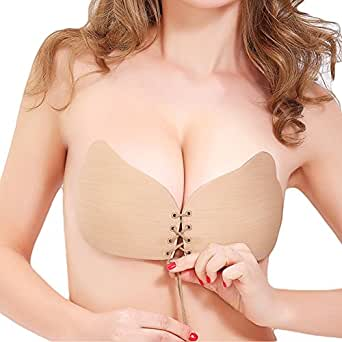 Adhesive Bra, Push Up Strapless Bra with Drawstring Reusable Invisible Silicone Backless Bras for Women Nude B-Cup