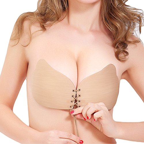 [NEW VERSION FBA] Adhesive Bra, Push Up Strapless Bra with Drawstring Reusable Invisible Silicone Backless Bras for Women