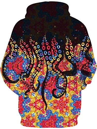 TUONROAD Felpe con Cappuccio Uomo 3D Stampato Hoodie Unisex Pullover Sweatshirt con Tasche Coulisse Felpe Uomo S-3XL