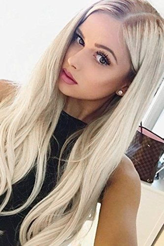 (EEWIGS Blonde Wigs for Women Lace Front Wigs Synthetic Platinum Blonde Dark Brown Root Ash Blonde Ombre 2 Tone)