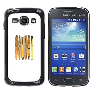 Caucho caso de Shell duro de la cubierta de accesorios de protección BY RAYDREAMMM - Samsung Galaxy Ace 3 GT-S7270 GT-S7275 GT-S7272 - Fountain Calligraphy White Minimalist