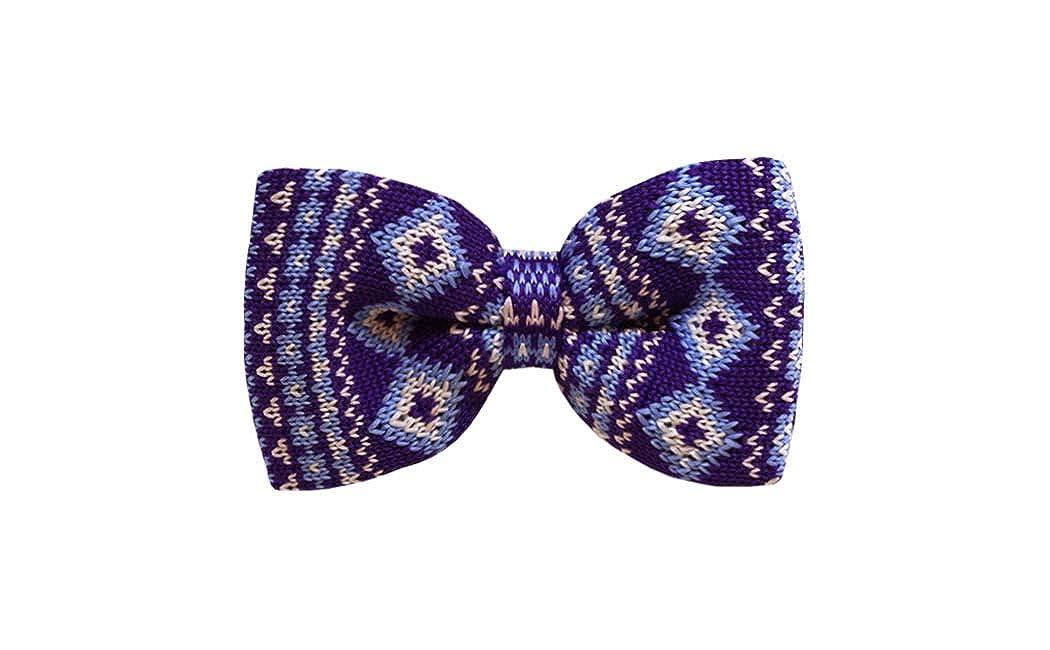 Steel Blue w//Designs Mens Knit Pre-Tied Bow Tie Purple