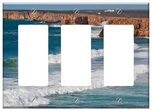 Switch Plate Triple Rocker/GFCI - Portugal Algarve Cabo Sao Vicente Wave Sea Sagres