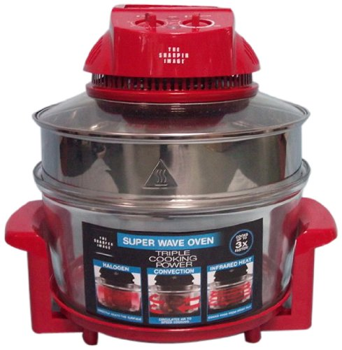 The Sharper Image Red Super Wave 12-1/2-Quart Countertop Oven, 1300-Watt (The Sharper Image Super Wave Halogen Oven)