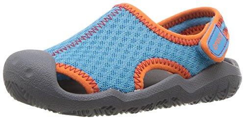 Crocs Canvas Sandals (Crocs Kids' Swiftwater Sandal,Cerulean Blue/Smoke,11 M US Little Kid)