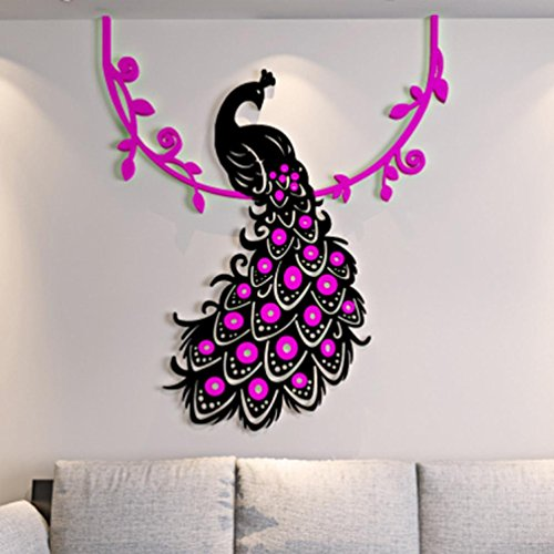 Inverlee Peacock DIY 3D Acrylic Crystal Wall Stickers Living Room Bedroom TV Background Home (Hot Pink)