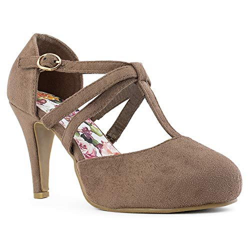 RF ROOM OF FASHION Coco-01 Women's Vegan D'Orsay Mary Jane T-Strap Mid Heel Dress Platform Pumps Shoes Taupe (7.5) ()